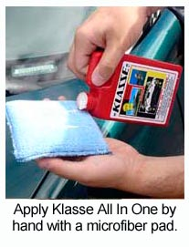 Klasse All In One Polish goes on easily by hand or with a dual action polisher.