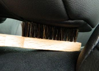 Natural Horse Hair Interior Detail Brush safely removes dirt from leather