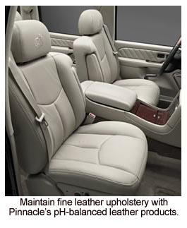 Pinnacle Leather Care products clean and protect leather seats.