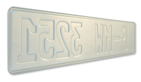 All European license plates are embossed in aluminum, just like real license plates.