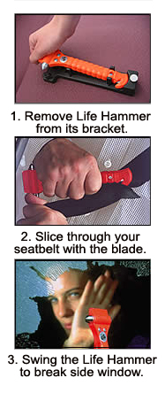 The Life Hammer acts fast to get you out of a unsafe vehicle.