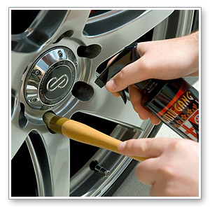 Clean lug nuts with our nonabrasive boar's hair lug nut brush.
