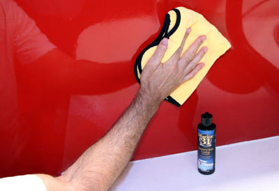 After applying Captains Boat Coating remove any excess using a soft microfiber towel