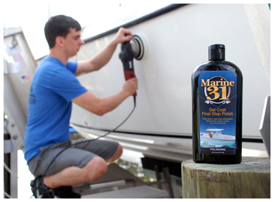 Marine 31 Gel Coat Final Step Polish removes light oxidation while creating a mirror finish