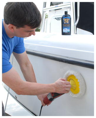 Marine 31 Gel Coat Heavy-Cut Oxidation Cleaner removes years of oxidation and yellowing, revealing a glossy finish