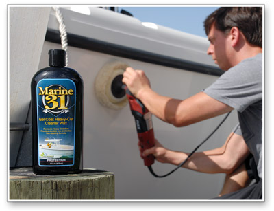 Marine 31 Gel Coat Heavy Cut Cleaner Wax can be used with a wool pad on a rotary polisher too!