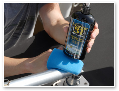 Marine 31 Stainless Steel Liquid Sealant can be applied by hand or machine