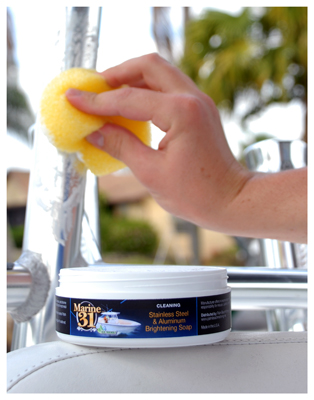 Marine 31 Stainless Steel & Aluminum Brightening Soap removes oxidation on metal surfaces, creating a mirror-finish