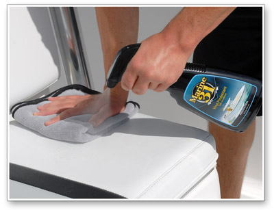 Marine 31 Vinyl Protectant with SunBlock is as simple as spraying on and wiping off!