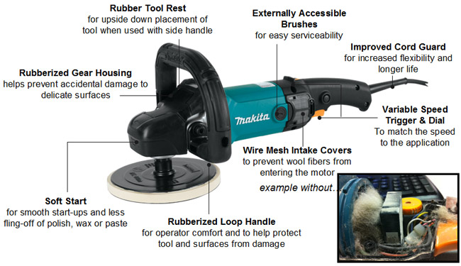 Makita 9237CX2 is a smooth and powerful rotary polisher