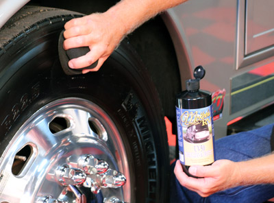 McKee's RV UV50 cleans and protects RV tires in one step!