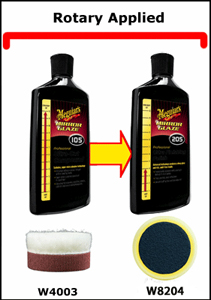 Next, use Meguiars 105 and 205 polishes and Soft Buff Pads to restore the surface of the headlights.