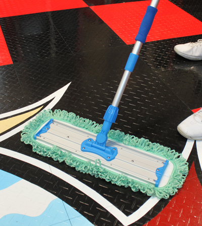 The Microfiber Dust Mop Pad works great for light cleaning such as dusting hardwood and garage flooring