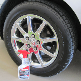 Mothers Back to Black Tire Shine leaves a satin shine.