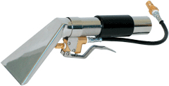 A stainless steel upholstery tool is included with the Mytee hot water extractor carpet cleaner.