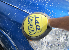 The Opti-Mitt fits any hand comfortably to reduce hand fatigue while washing cars.