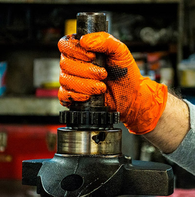 Orange Heavy Duty Nitrile Gloves are strong enough for any job!