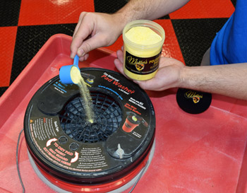 Use McKee's 37 Polishing Pad Rejuvenator with the Grit Guard Universal Pad Washer.