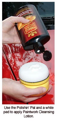 The Pinnacle Polishin' Pal with a white pad enhances the cleaning ability of Paintwork Cleansing Lotion.