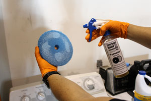 Spray cleaner directly onto foam pads