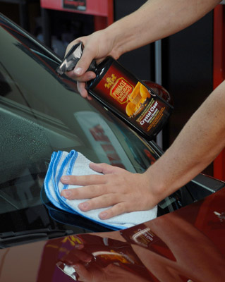 Pinnacle Crystal Clear Glass Cleaner with Water Repellent leaves a crystal clear, streak-free finish on automotive glass