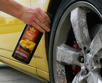 Pinnacle Advanced Wheel Cleaner produces a thing foam that clings to the surface