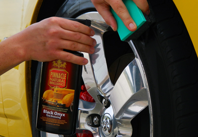 Pinnacle Black Onyx Tire Dressing Spray protects and rejuvenates dry tires