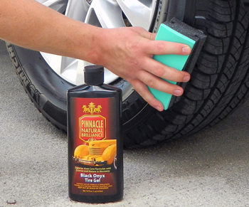 Pinnacle Black Onyx Tire Gel spreads thin and dries to the touch
