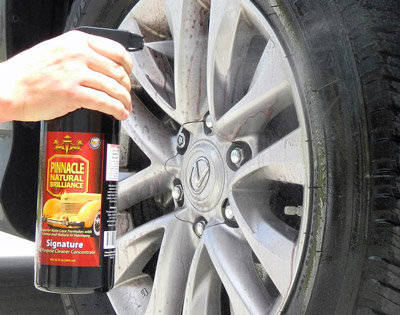 Pinnacle Advanced Tire Cleaner removes browing from tires