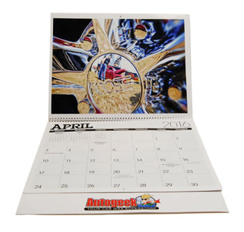 Full, color images make sure the calendar is decorative for both garages and home offices!