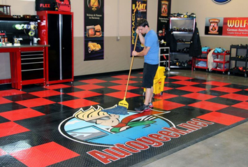 Detailer's Waterless Auto Wash keeps RaceDeck Garage Flooring looking great