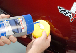 Use a foam applicator to apply Sonax Paint Cleaner.