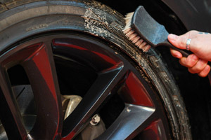 Baked on mud and dirt are no match for the cleaning action of DP Dual Action Tire & Wheel Cleaner!