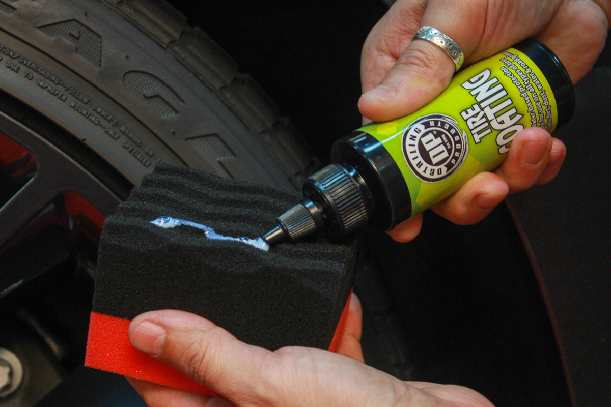 Apply DP Tire Coating to a foam tire dressing applicator to ensure even distribution of product.