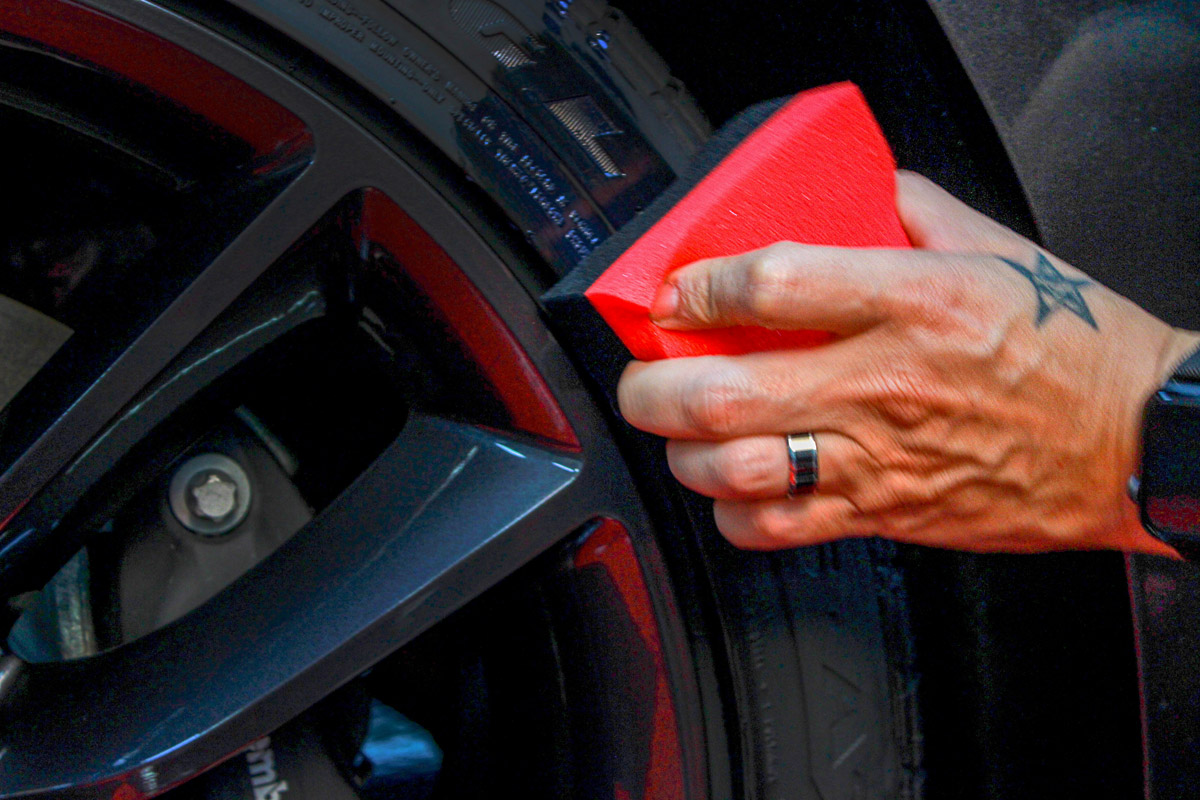 Spread DP Tire Coating evenly across the surface of your tire. DO NOT apply to the treaded surface!