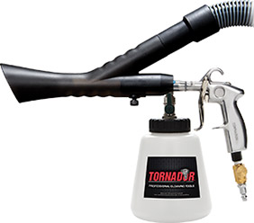 The ZV-200 Tornador Velocity-Vac works with the Tornador Black 020 and a wet/dry vacuum.