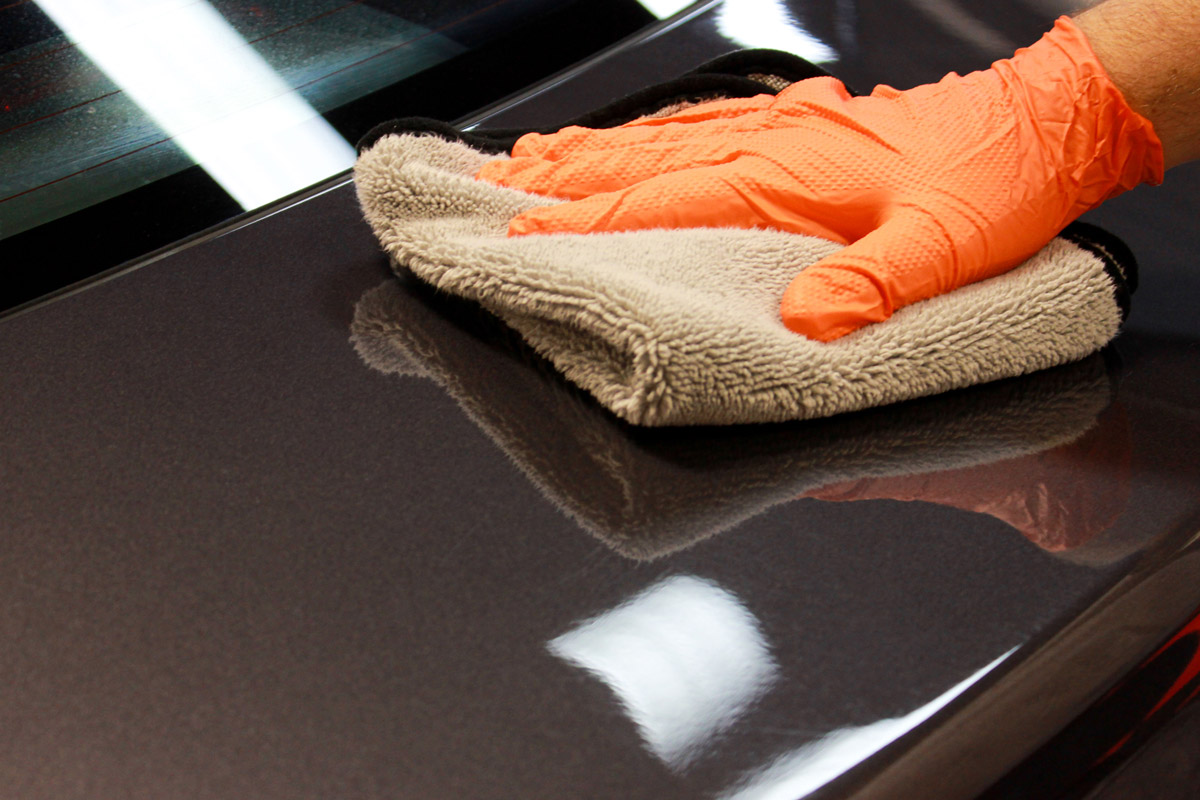 Once Woldgang Uber Ceramic Spray Coating has flashed, simply buff the surface with a clean microfiber towel!