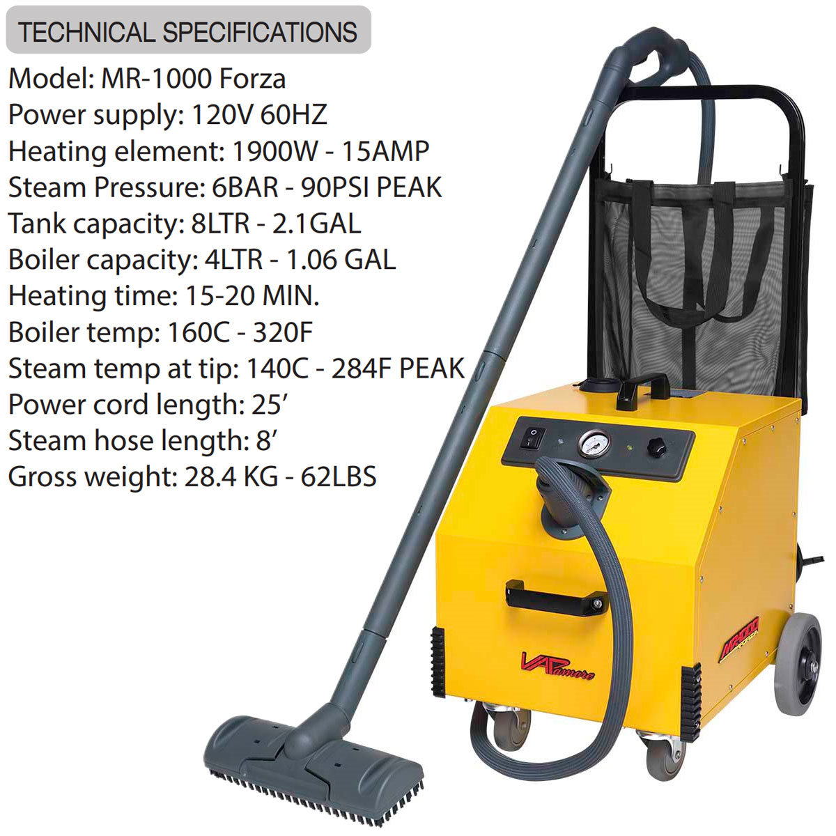 Vapamore MR-1000 Forza Steam Cleaner Technical Specifications