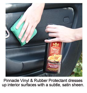 Pinnacle Vinyl & Rubber Protectant maintains the color and texture of vinyl, rubber and plastic surfaces.