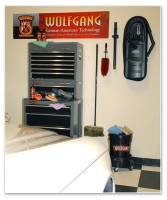 The Wolfgang Wall Banner hangs in Autogeek's garage.