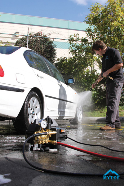 Say goodbye to noisy gas powered pressure washers and say hello to the Mytee Water Hog!
