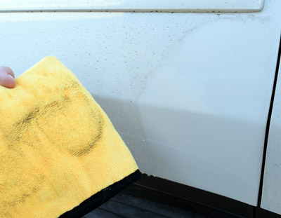 Check out how dirty the towel is!