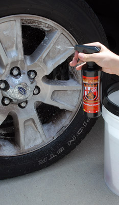 Spray a liberal amount of Wolfgang Über Wheel Cleaner directly on the face of the wheel and the wheel barrels