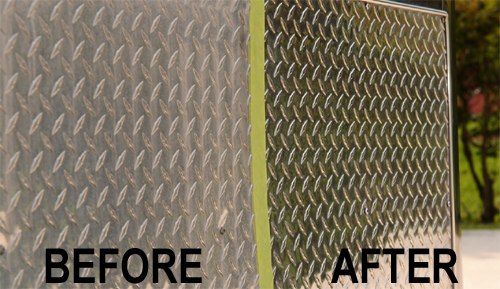 Real before and after results of the Wolfgang metal polishing system.