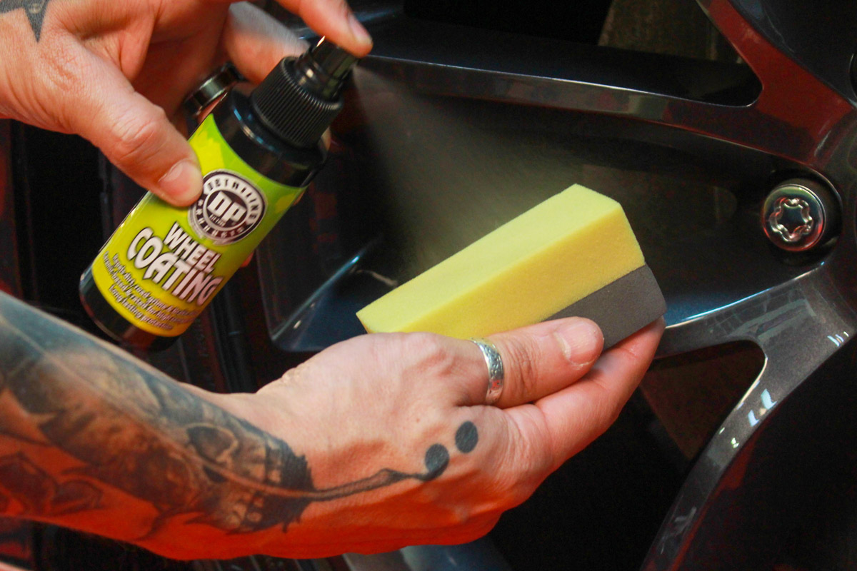 Spray DP Wheel Coating onto a foam coating applicator to make sure you are able to work it into every crevice of your wheels.