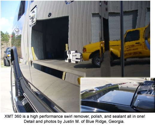 You can see how Pinnacle XMT 360 cleaned and polished this Hummer.