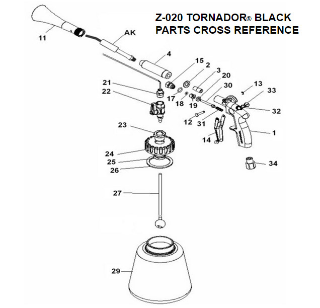 Z 020 Tornador Black Car Cleaning Gun Replacement Parts Accessories