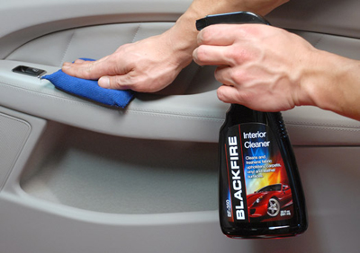 Blackfire Interior Cleaner removes spots and stains from interior surfaces.