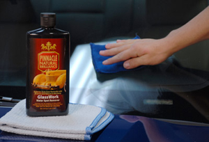 Pinnacle GlassWork Water Spot Remover can be applied by hand