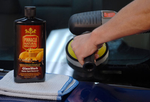 Pinnacle GlassWork Water Spot Remover can also be applied by machine!